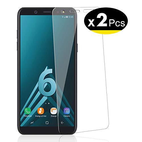 NEW'C 2 Stück, PanzerglasFolie Schutzfolie für Samsung Galaxy A6, Frei von Kratzern Fingabdrücken und Öl, 9H Härte, HD Displayschutzfolie, 0.33mm Ultra-klar, Ultrabeständig