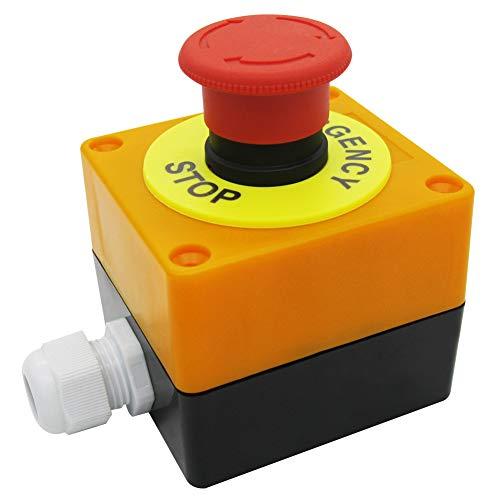 Mxuteuk 1NC 1NO 22mm Red Seta Interruptor de botón de parada de emergencia AC 660V 10A Caja de estación de interruptores, 1 años de garantía HB2-ES545-BOX-Y