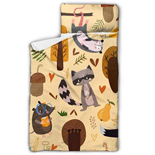 WYYWCY Herbst Nahtlose Muster Opossum Eule Waschbär Mädchen Nickerchen Matten Schlafsack Reisen mit Decke und Kissen Rollup Design ideal für Vorschule Kindertagesstätte Sleepovers 50