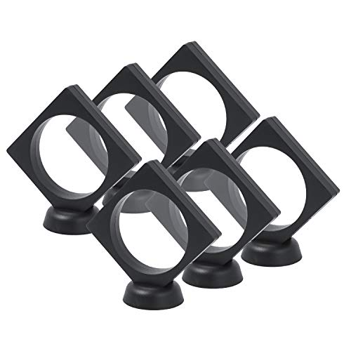 6PCS/Set Black 3D Floating Display Case Display Stands Holder Suspension Frame for Championship Ring,Challenge Coin,AA Medallion,Jewelry,Pin, 3.5x3.5 Inches