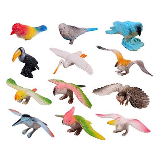 TOYANDONA 12 Piezas de Plástico Realista Pájaro Micro Paisaje Pájaros Educativos Animales Juguetes Figuras Modelos para Niños Niños
