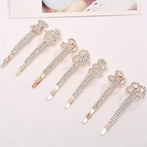 Lot de 10 épingles à cheveux en strass pour femme - 1 à 4 cm - Style quotidien - Métallique classique - Cristal
