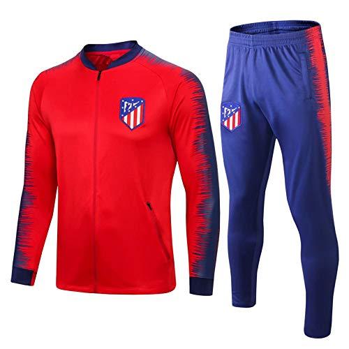 DIWEI Spanien Atlético Madrid Fußball-Trainingsanzug, 19-20 Herren Erwachsene Kinder Jungen Langarm-Jacke, Herren Jacke Hosen Herren-Sweatshirts 2 Stücke Sets red-S
