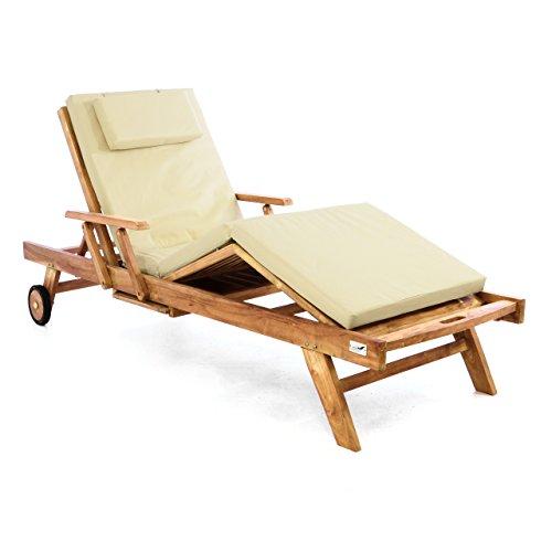 DIVERO Sonnenliege Holzliege Gartenliege Teak-Holz behandelt mehrfach verstellbar inkl. Räder Tablett + Liegen-Auflage 4-teilig wasserabweisend Creme