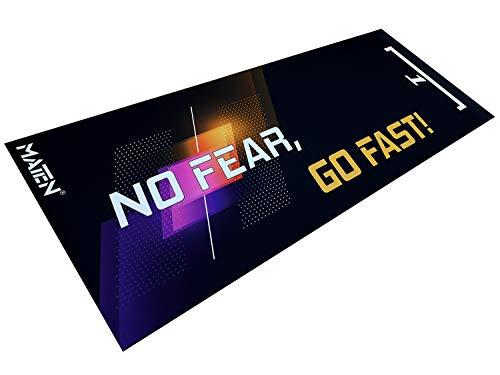 Tapis de moto pour garage et paddock en PVC : non fear, go fast! 200 x 80 cm