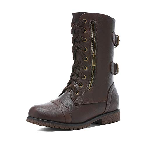 DREAM PAIRS Women's Terran Snow Brown Faux Fur Lined Mid Calf Riding Combat Boots Size 9 M US