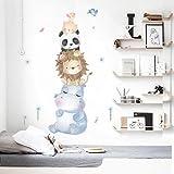 Pegatinas de animales lindos para niños, pegatinas de animales de dibujos animados para decoración de la pared de la habitación del bebé sala de estar arte murales decoraciones de pared