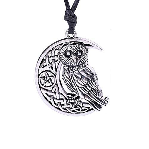 Goddess Crescent Moon Pendant Owl Necklace Wicca Pentagram Pagan Amulet Talisman Jewelry 45cm