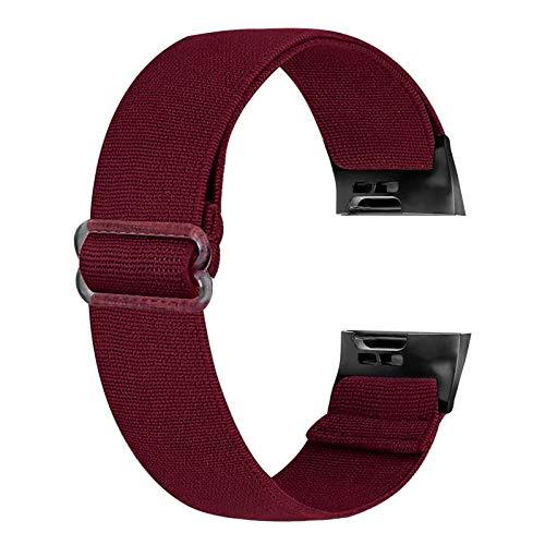 Ecogbd Correa de repuesto elástica compatible con Fitbit Charge 3 Correa/Fitbit Charge 4 Correa, correa de reloj deportivo de nailon de tela suave para mujeres y hombres (vino rojo)