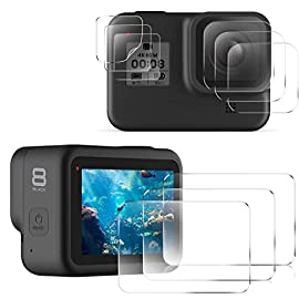 EZCO Screen Protector Compatible with GoPro Hero 8, [3 Sets/9Pcs] Waterproof Ultra Clear Tempered Glass Screen Protector… 1 Screen Protector for GoPro Hero 8: These screen protectors glass are designed for GoPro Hero 8 Camera Black. The package come with 3 pcs tempered glass screen protector, 3 pcs tempered glass lens screen protector, 3 pcs small protective film; 3 set cleaning kits, 1 x installation guide. 9H Hardness: The GoPro Hero 8 Black screen protector tempered glass felt sturdy and made out of good quality materials. It is shatterproof and hard so it doesn't scratch easily. Tempered glass is thick enough to protect your investment from the scratches and bumps of everyday life. Ultra Clear & No Bubbles: This tempered glass is bright, incomparable light transmission up to 99.99%. The highly transparent surface of the protection film for GoPro Hero 8 Black can clearly display the color of the lens and allows the rich colors of the screen.
