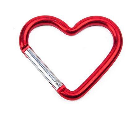 Marwotec Verbindungselemente 20 Stück Karabiner - Aluminium - Herz Form Karabiner in Rot Schlüsselanhänger Karabinerhaken Zubehörkarabiner