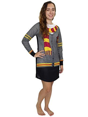 Harry Potter Hogwarts Gryffindor Women's Long Sleeve Nightgown Pajamas (Large, Black/Grey)