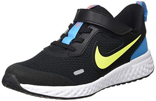 Nike Unisex-Child Revolution 5 (PSV) Running Shoe, Black/Lemon Venom-Laser Blue, 31 EU