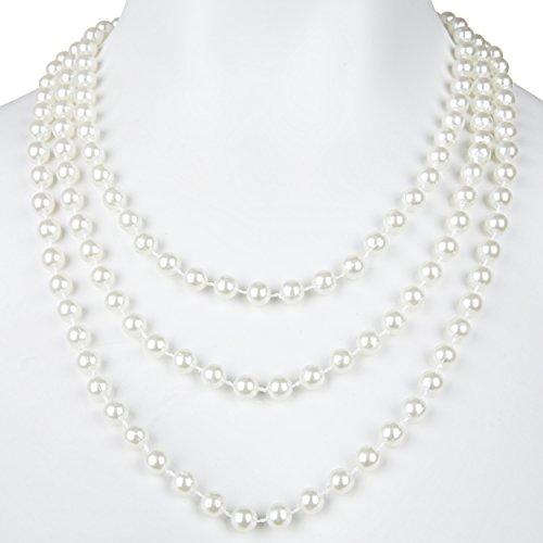 Perlenkette weiß 180 cm für Ihr Charleston Kostüm 20er Jahre Perlen Kette