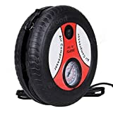 SHOPMENT Portable Electric Mini DC 12V Air Compressor Pump for Car and Bike Tyre Tire Inflator Red Black