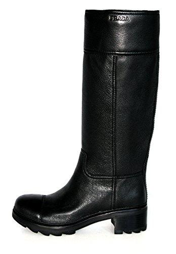Prada Damen Schwarz Leder Stiefel 3W5100 40.5 EU