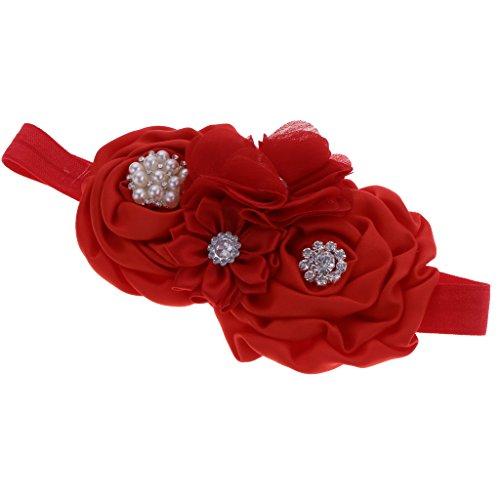 Homyl Bébé Fille Bandeau Elastique Cheveux Fleur Strass Perles Couronne Floral de Princesse - Rouge