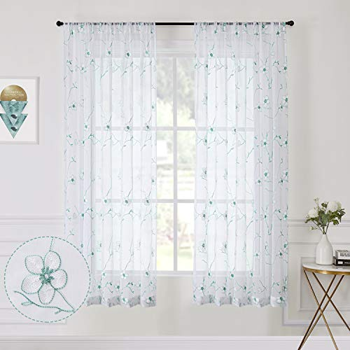 Tollpiz Flower Short Sheer Curtains Aqua Blue White Blossom Embroidery Bedroom Curtain Rod Pocket Voile Embroidered Floral Curtains for Living Room, 54 x 45 inches Long, Set of 2 Panels