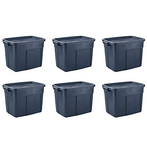 Rubbermaid 18 Gal Pack of 6 Roughneck️ Storage Totes Durable, Reusable, Set of Large Plastic Storage Bins
