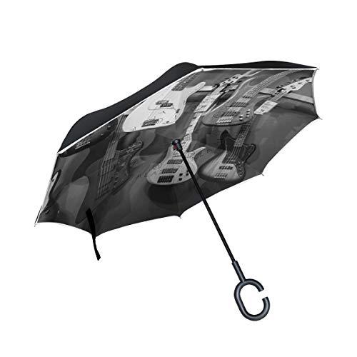 Double Layer Inverted Umbrella Winddichte Regensonnen-Regenschirme mit C-förmigem Griff - Akustik der Schwarz-Weiß-Bassgitarren