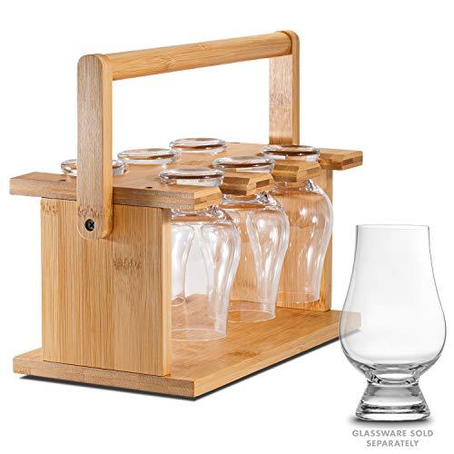 CairnCaddy Bamboo Whiskey Glass Holder - Carrier and Drying Rack for Whisky Tasting Glassware