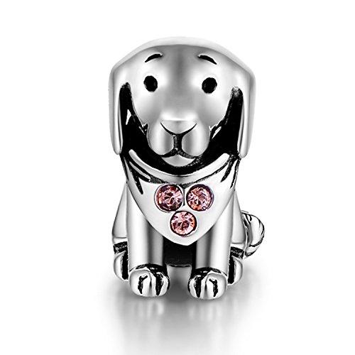 GW 925 Sterling Silber Charms Hund passt für Pandora Armband Armkette Halskette für Damen (Hündchen mit rosa Zirkon)