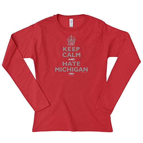 Smack Apparel Ohio State Football Fans. Keep Calm and Hate Michigan Red Ladies Shirt (Xs-3x) (Long Sleeve, 2XL)