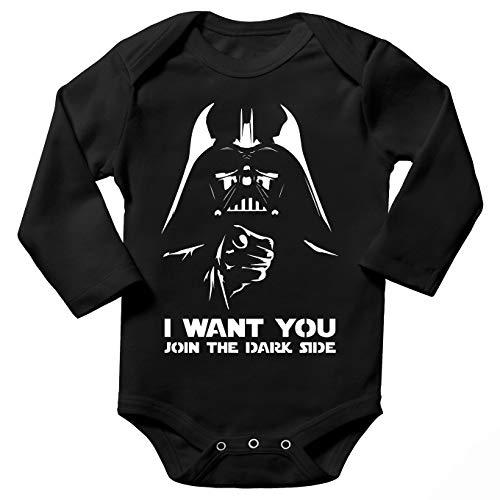 Body bébé Manches Longues Noir Parodie Star Wars - Dark Vador Se la Joue Oncle Sam - I Want You !!(Body bébé de qualité supérieure de Taille 9 Mois - imprimé en France)
