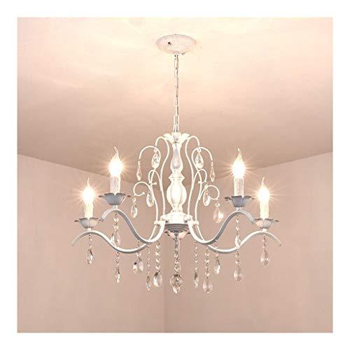 Lampadario Lampadario E14 Lampadario moderno minimalista in ferro battuto a 5 luci Plafoniera a soffitto con luce decorativa in cristallo K9 Lampada da Soffitto (Color : White)