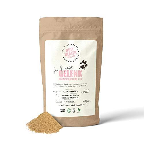 Holy Health Natürliches Gelenkpulver Für Hunde - mit Glucosamin, Grünlippmuschel, Mangan und Kurkuma - Made in Germany - Ergänzungsfuttermittel zur Unterstützung der Gelenke - 200g