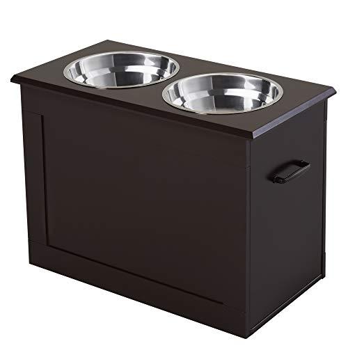 Pawhut Portaciotole Rialzato per Cani di Taglia Medio-Grande con 2 Ciotole di Φ24cm in Acciaio Inossidabile, 60x30x41cm