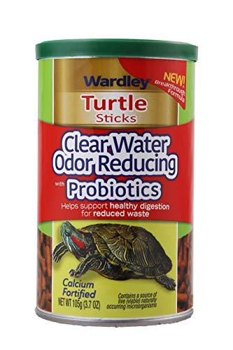 Wardley Turtle Food Sticks Clear Water Odor Reducing with Probiotics, 3.7 oz, Fortified Aquatic Turtle Food Stix for Shell Health