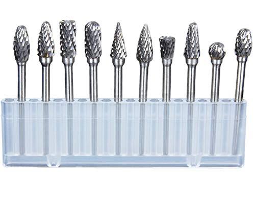 "Hakkin Raspel Set,Bohrer Fräser Set 10 Teilig 1/8\"" Wolframstahl Frässtifte Bohrer Diamantfräser Dremel Drehwerkzeug für Holzbearbeitung, Carving, Gravur, Bohren (Silber Raspel Set)"