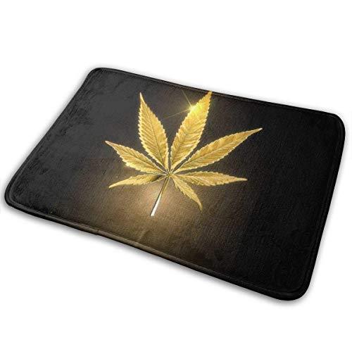 Bienvenido Felpudo antideslizante Cool Gold Golden Marijuana Cannabis Weed Felpudo antideslizante negro Felpudo interior para exteriores Alfombras para el piso Alfombra para el hogar Alfombra para ent
