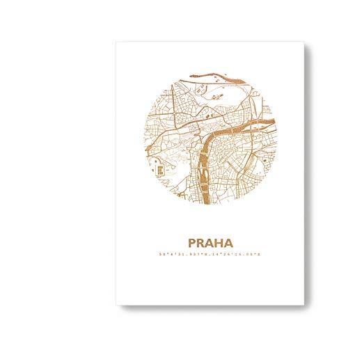 Prag Tschechien Karte - Dein Lieblingsort Personalisiert in S/W Rose Gold Silber Kupfer A4 A3 - Stilsichere Wandbilder Geschenke Arbeitszimmer Wohnzimmer Andenken Heimatstadt
