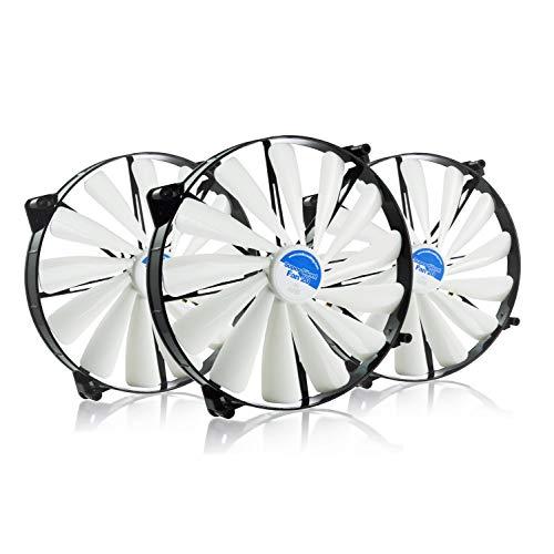 AAB Cooling Super Silent Fan 20 - Leise und Efizient 200mm Groß Gehäuselüfter mit 4 Anti-Vibration-Pads - Gehäuse Lüfter, Cooling Fan, Ventilator, Lüfter 12V - Wertpaket 3 Stück