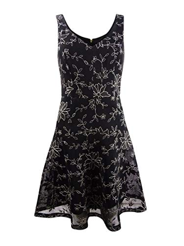 DKNY Womens Mesh Embroidered Cocktail Dress Black 6