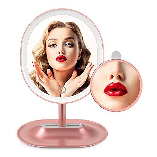Specchio ingranditore illuminato x5 / x1, specchio per il trucco ricaricabile