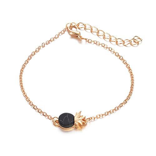 WooCo Damen Frauen Mädchen Einfache Armband Ananas Design Kurze Armband Naturstein Perlen Mode Einfache Vintage Legierung Armband(Gold)