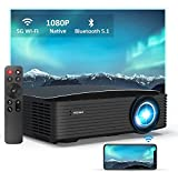 NexiGo Native 1080P Projector [350ANSI - Over 9500 Lux Brightness], 5G Wi-Fi, Outdoor Movie Projector, Bluetooth 5.1, Dolby_Sound Support, Compatible w/TV Stick,iPhone,Android,Laptop,Console