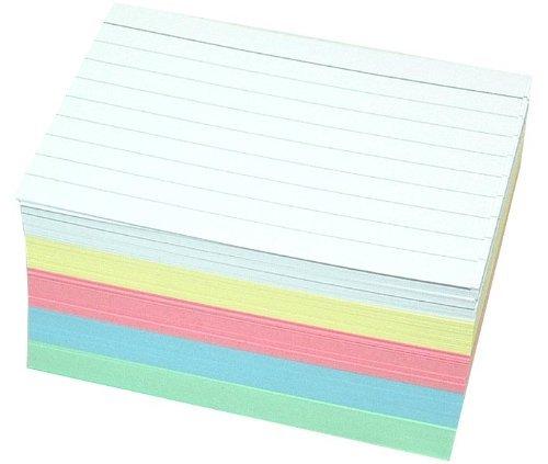 500fichas DIN A7en 5colores zweiseitig rayas, color varios colores