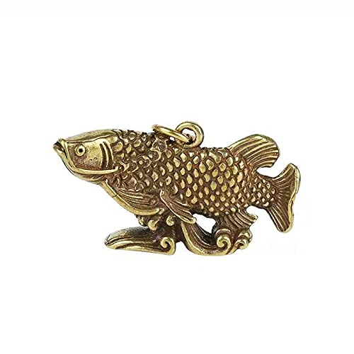 Mcottage Vintage Brass Arowana Fish Lucky Feng Shui Colgante para Decoraciones de Llavero Hombres Coche Llavero Llavero Anillos llaveros