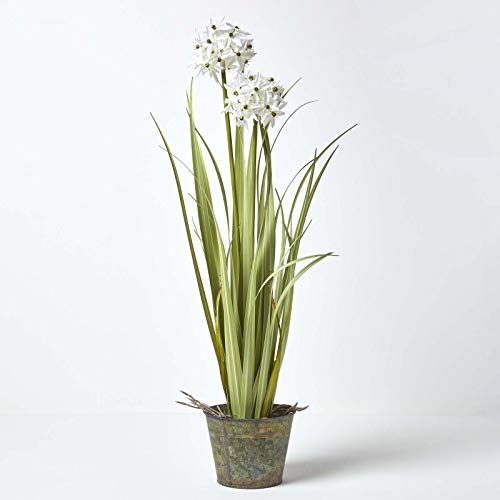 Homescapes White Artificial Allium Grass in Rustic Style Grey Zinc Pot, 84cm Tall Artificial Plant for Indoor Decoration