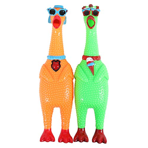 Alsino Schreiende Gummihühner Quietschhühner mit Sonnenbrille im 2er-Set Screaming Chicken Spielzeug Haustier-Hundespielzeug Orange und Grün
