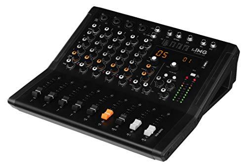 IMG STAGELINE MXR-60PRO, 6-Kanal Audio-Mischpult mit integriertem MP3-Player, Bluetooth-Empfänger und DSP-Effekteinheit, Audio-Console mit 4 Mono-Eingangskanälen mit Gainregler, Mix-Pult in Schwarz