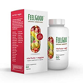 FeelGood Superfoods Vita Fruits and Veggies Dietary Supplement Capsules Made from 25 Superfood Ingredients 60 Count