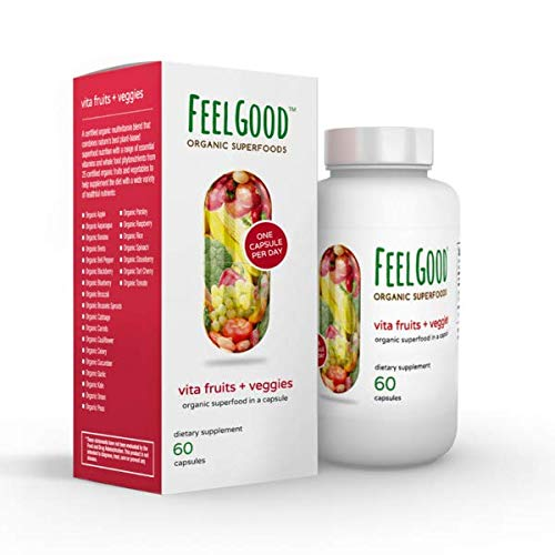 Fruits & Veggies Capsules (60 Count) | 26 Organic Fruits and Veggies | Vitamins A, C, D, E, B1 & Nacin | Gluten Free, Non-GMO & Vegan Friendly | Multivitamin for Men & Women | by Feelgood Superfoods