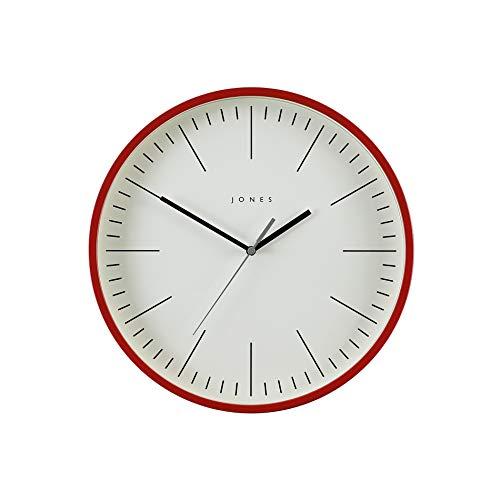 JONES CLOCKS® Spartacus Wanduhr, minimalistisches Design, farbiges Gehäuse, farbenes Zifferblatt, Schwarze und graue Zeiger, 30 cm (Rot)