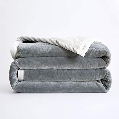 MTXD Grote deken, flanelkleurige fleece sprei grijs, super zacht, pluizig, warme sprei met stevig bed voor bankdekens van microvezel -11.29