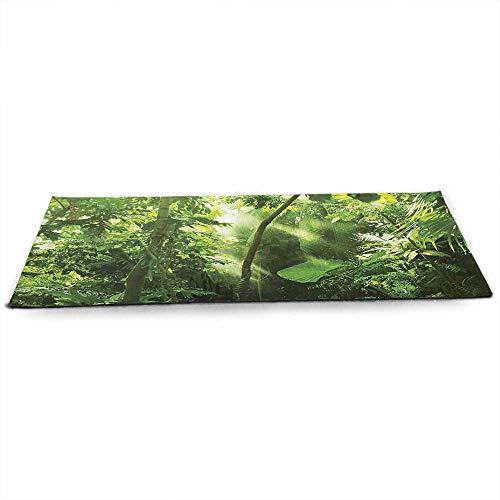 WinfreyDecor 森林エコフレンドリー ヨガマット 北部のティンバーランド 成長 パノラマ 自然 エコ 風景 抽象的 スプラス 関節 健康 理学療法 ブラック グレー ホワイト W24